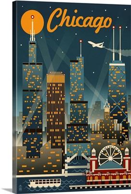 Chicago Illinois - Retro Skyline: Retro Travel Poster