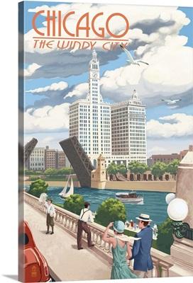Chicago, Illinois - River View: Retro Travel Poster