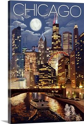 Chicago, Illinois - Skyline at Night: Retro Travel Poster