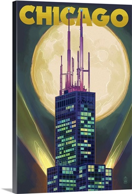 Chicago, Illinois - Willis Tower and Full Moon: Retro Travel Poster