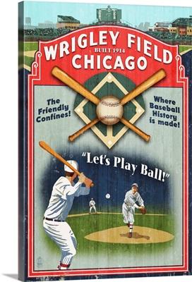 Chicago, Illinois - Wrigley Field Vintage Sign: Retro Travel Poster