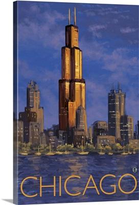 Chicago Skyline: Retro Travel Poster