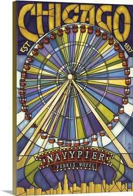 Chicago's Navy Pier and Ferris Wheel: Retro Travel Poster