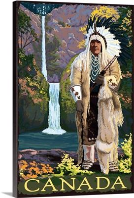 Chief in Full Dress - Canada: Retro Travel Poster