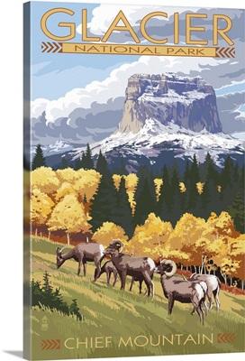 Chief Mountain and Big Horn Sheep - Glacier National Park, Montana: Retro Travel Poster