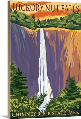 Chimney Rock State Park, NC - Hickory Nut Falls: Retro Travel Poster