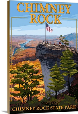 Chimney Rock State Park, NC - View from Top: Retro Travel Poster
