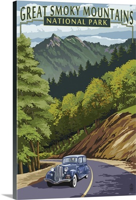 Chimney Tops and Road - Great Smoky Mountains National Park, TN: Retro Travel Poster
