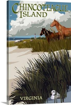 Chincoteague Island, Virginia - Horses and Dunes: Retro Travel Poster