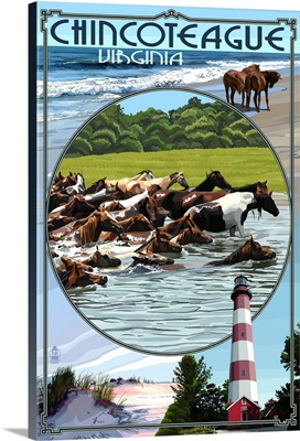 Chincoteague, Virgina - Scenes: Retro Travel Poster