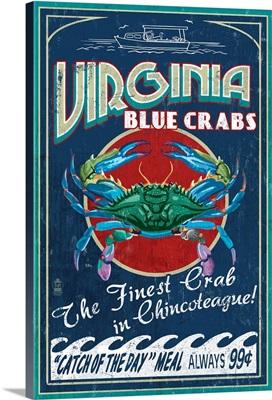 Chincoteague, Virginia, Blue Crab Vintage Sign