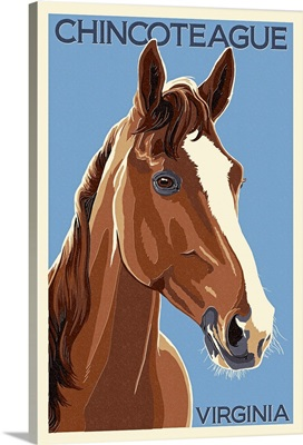 Chincoteague, Virginia - Horse - Letterpress : Retro Travel Poster