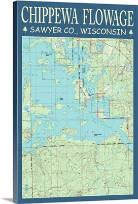 Chippewa Flowage Chart - Sawyer County, Wisconsin: Retro Travel Poster