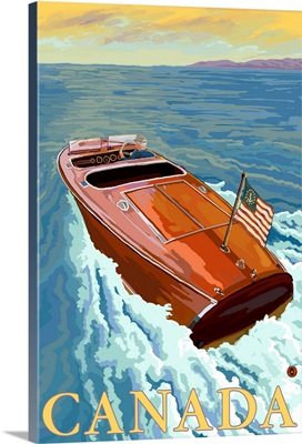 Chris Craft Boat - Canada: Retro Travel Poster