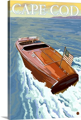 Chris Craft Boat - Cape Cod, MA: Retro Travel Poster