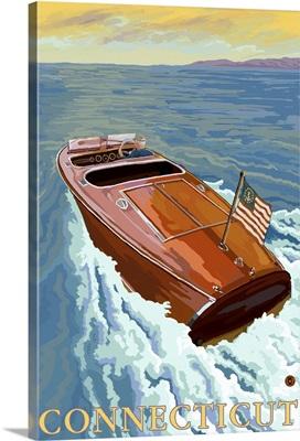 Chris Craft Boat - Connecticut: Retro Travel Poster