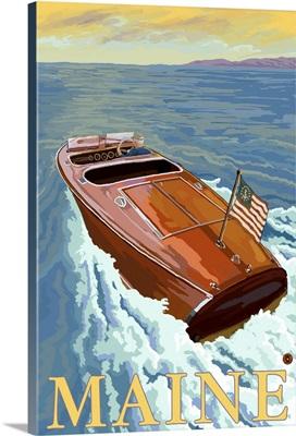 Chris Craft Boat - Maine: Retro Travel Poster