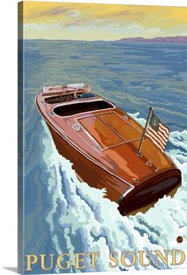 Chris Craft Boat - Puget Sound: Retro Travel Poster