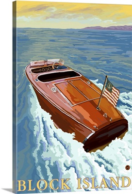 Chris Craft Boat - Rhode Island: Retro Travel Poster