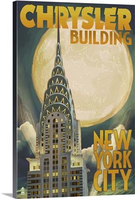 Chrysler Building and Full Moon - New York City, NY: Retro Travel Poster