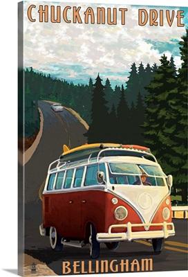 Chuckanut Drive - Bellingham, WA - VW Van: Retro Travel Poster