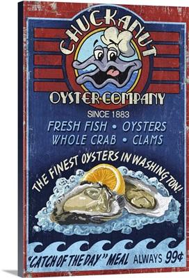 Chuckanut, Washington - Oyster Bar Vintage Sign: Retro Travel Poster