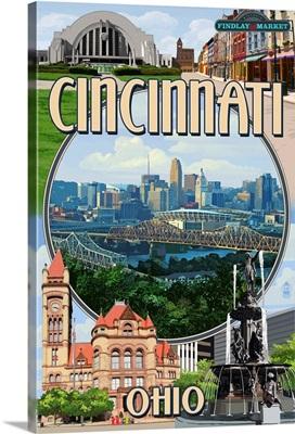 Cincinnati, Ohio - Montage Scenes: Retro Travel Poster