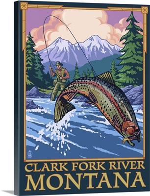 Clark Fork River, Montana - Angler: Retro Travel Poster