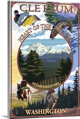 Cle Elum, Washington - Montage: Retro Travel Poster