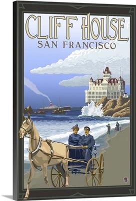 Cliff House San Francisco: Retro Travel Poster
