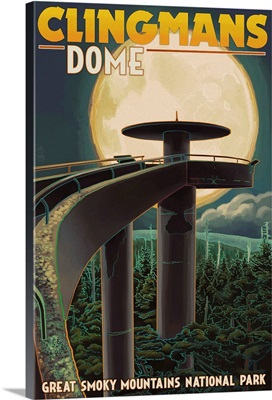 Clingmans Dome and Moon - Great Smoky Mountains National Park, TN: Retro Travel Poster