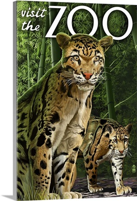 Clouded Leopard - Visit the Zoo: Retro Travel Poster