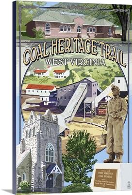 Coal Heritage Trail, West Virginia - Montage Scenes: Retro Travel Poster