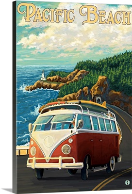 Coast Drive - Pacific Beach, Washington: Retro Travel Poster