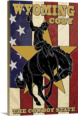 Cody, Wyoming Bucking Bronco: Retro Travel Poster