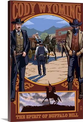 Cody, Wyoming Shootout Scene: Retro Travel Poster