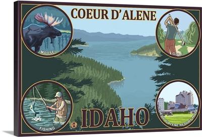 Coeur D' Alene, Idaho: Retro Travel Poster