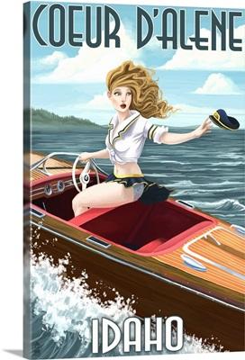 Coeur D'Alene, Idaho - Boating Pinup Girl: Retro Travel Poster