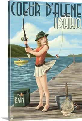 Coeur D'Alene, Idaho - Fishing Pinup Girl: Retro Travel Poster