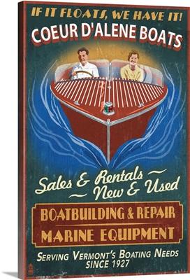 Coeur D'Alene, Idaho - Wooden Boats Vintage Sign: Retro Travel Poster