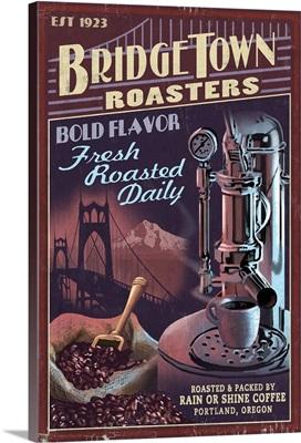 Coffee Roasters Vintage Sign - Portland, Oregon: Retro Travel Poster