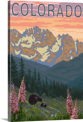 Colorado - Bears and Spring Flowers: Retro Travel Poster