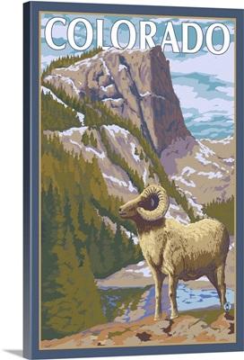 Colorado - Big Horn Sheep: Retro Travel Poster