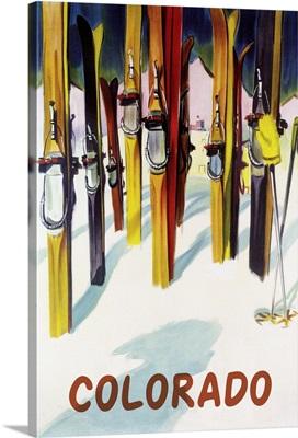 Colorado - Colorful Skis: Retro Travel Poster