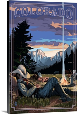 Colorado - Cowboy Camping Night Scene: Retro Travel Poster