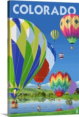 Colorado - Hot Air Balloons: Retro Travel Poster