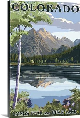 Colorado - Longs Peak and Bear Lake Summer: Retro Travel Poster