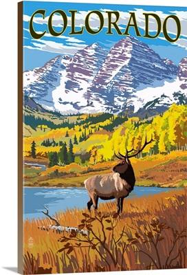 Colorado, Maroon Bells and Elk
