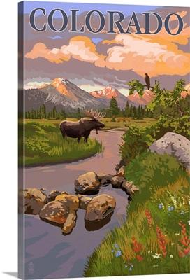 Colorado - Moose and Meadow Scene: Retro Travel Poster