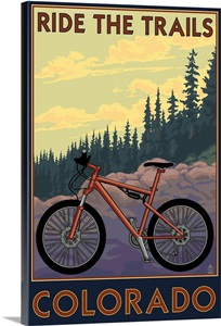 colorado mountain bike scene retro travel poster wall art canvas prints framed prints wall. Black Bedroom Furniture Sets. Home Design Ideas